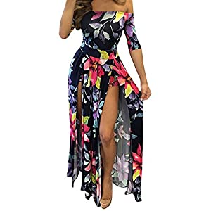Roberoody Women's Sexy Off Shoulder High Split Floral Short Overlay Rompers Jumpsuits Playsuits Maxi Dresses,5X,Black