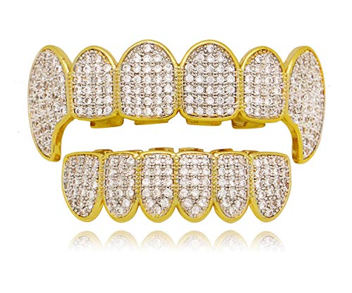 Bar Silver Iced Out Grillz - LuReen Gold Silver Twotone Iced Out CZ Vampire Fangs Grillz Set + 2 Extra Molding Bars (Grillz Set)