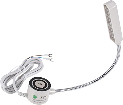 Pixnor - Flexo de 20 luces LED blancas para máquina de coser, 220 V, superbrillante, montaje magnético, base de cuello de cisne flexible, color blanco: Amazon.es: Iluminación