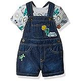 The Children's Place Baby Boys' Denim Shortall Clothing Set, Atmosphere, 12-18MOS