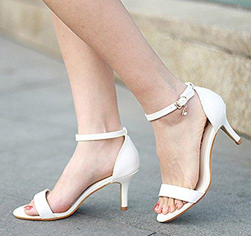 Talon Ouvert Blanc Sexy Femme Avec Moyen Sandales Boucle Aiguille Aisun Bout q46fBwEnx