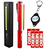 Bundle: Nebo LiL Larry Pocket Clip Magnetic LED Work Light with 6 Nebo AAA Batteries and Lumintrail Keychain Light (Red)