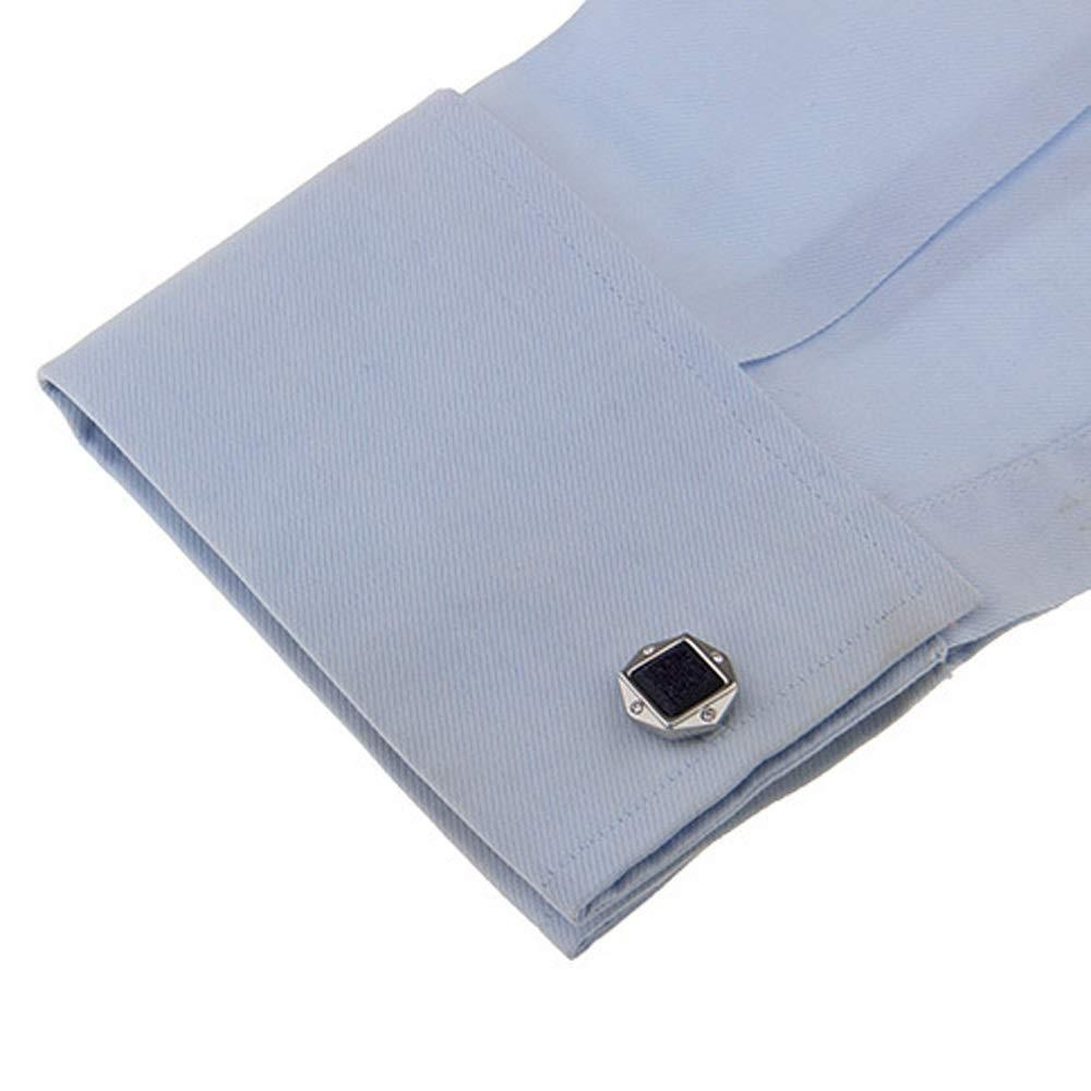 Tuxedo Shirts Business Wedding Concert Color Silver+Black //1 Pair Set Clothing Accessories Cufflinks Cheng Chang Cufflinks Polygonal Cyanite Galvanized Steel Cufflinks