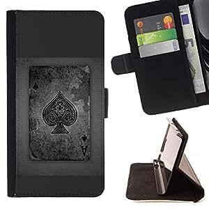 Momo Phone Case / Flip Funda de Cuero Case Cover - Tarjetas de juego as de las espadas gris Poker - MOTOROLA MOTO X PLAY XT1562