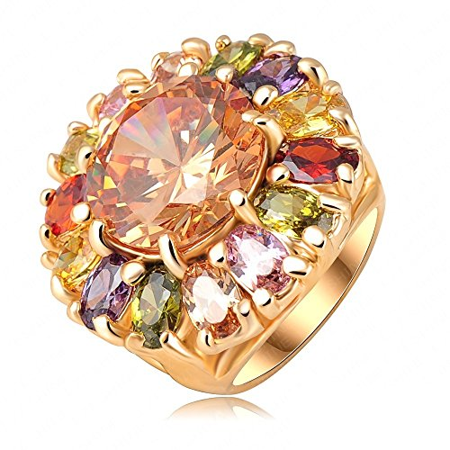 Price comparison product image AnaZoz Jewelry Flower 18k Gold Plated Girl Rings Colourful SWA Elements Austrian Crystals 23*25mm6.5