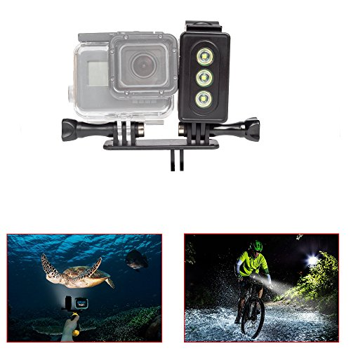 Underwater Light for GoPro 30m Waterproof Sidekick Side LED Flash Spot Flood Lighting Camera Accessories – For Dive Diving Scuba – For Go Pro Hero 2 3 3+ 4 5 SJcam SJ5000 EKEN Xiaomi Yi By ADIKA