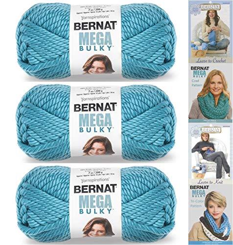 Bernat Mega Bulky Yarn 7.0 Ounce, 3 Pack Bundle, Jumbo #7 Acrylic (Teal)