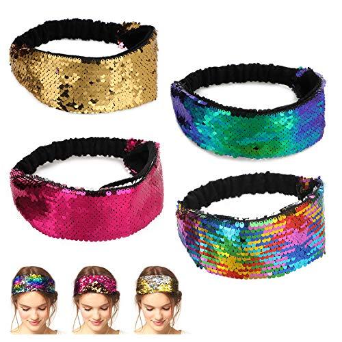 AKWOX 4 Pcs Sparkly Mermaid Sequin Glitter Headbands, Reversible Hairband Elastic Bling Sport Head Band Non Slip Velvet Hair Bands for Girls and Women