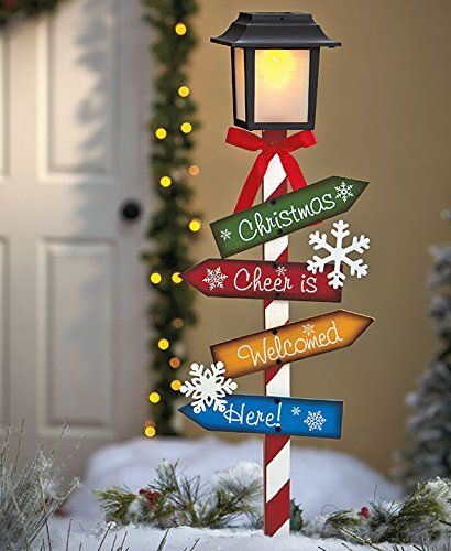 solar lighted whimsical lantern lamp post yard stake outdoor lawn garden christmas decoration
