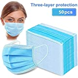 50pcs Disposable Earloop Face Mask,Breathable Non-Woven Dust Filter Face Mask, Breathable and Comfortable for Dust…