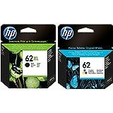 Pack of 2 HP Ink Cartridges: 1 x 62XL Black (C2P05AE), 1 x 62 Colour (C2P06AE)