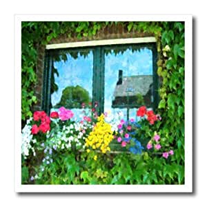 ht_174316_3 Florene - Flowers - image of painting of european window floral - Iron on Heat Transfers - 10x10 Iron on Heat Transfer for White Material