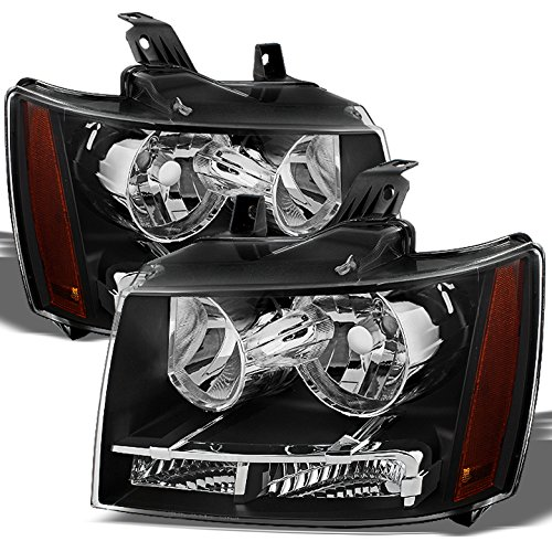 Xtune for 2007-2013 Avalanche Suburban Tahoe Black Headlights Front Lamps L+R Pair Left+Right/2008 2009 2010 2011 2012 2013 ()