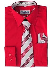 Berlioni Boys Kids One Pocket Long Sleeve Dress Shirts with Tie and Hanky