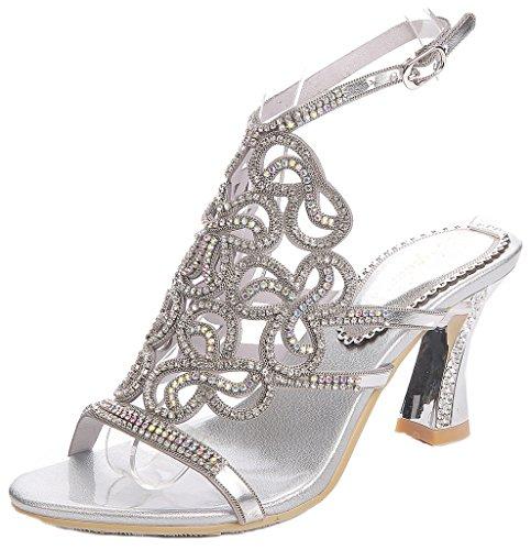 (LizForm Glitter Crystal Studded Evening Sandals Ankle Strap Sandal Evening Chunky Heels Silver 7)