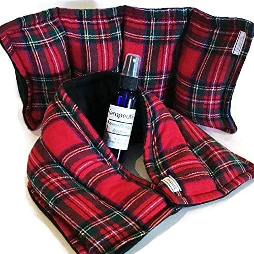 Microwave Heat Pad Kit, Unwind Relaxation Bundle for Men or Women, Anxiety Aid Calm Down Gift Set, Stress Tamer Care Package, Essential Oil Herbal Spray Christmas Plaid