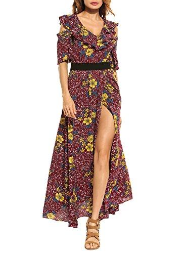 Zeagoo Women Dress Bohemian Cold Shoulder Floral Ruffle Print Flower Side High Split Maxi Dress Cotton Spandex Jersey Bandeau Dress