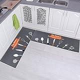 """Carvapet 2 Piece Non-Slip Kitchen Mat Rubber Backing Doormat Runner Rug Set, Kitchenware Design (Grey 15""""x47"""")"""