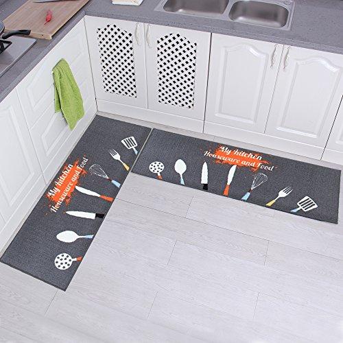Carvapet 2 Piece Non-Slip Kitchen Mat Rubber Backing Doormat Runner Rug Set, Kitchenware Design (Grey 15x47)
