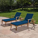 Great Deal Furniture Daisy Outdoor Teak Finish Chaise Lounge with Blue Water Resistant Cushion (Set of 2)