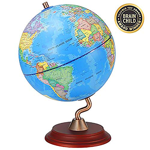 Globe Of The World (World Globes with Wooden Stand for Kids - Educational World Globe with Stand Adults Desk Geographic Globes Discovery World Globe Educational Toy - Geography Learning)
