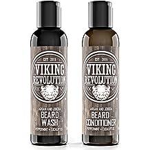 Best Deal Beard Wash & Beard Conditioner Set w/Argan & Jojoba Oils - Softens & Strengthens - Natural Peppermint and Eucalyptus Scent - Beard Shampoo w/Beard Oil (5 oz)