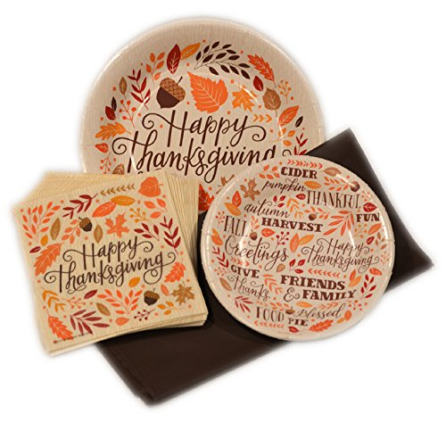 Thanksgiving Disposable Paper Plates and Napkins Party Pack - Bundle Includes - Give Thanks Dinnerware Plates - Dessert Plates - Napkins and Tablecloth (Paper Plates Thanksgiving)