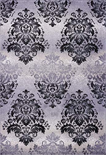Ladole Rugs Everest Collection Milan Classic Damask Style Soft Beautiful Area Rug Carpet in Gray and Black, 4x6(3'11