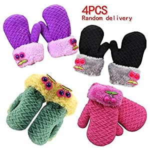 Amazon.com: COFFLED Kids Winter Gloves Knit Set Pack of 4