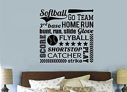 Amazon.com: Enchantingly Elegant Softball Sports Vinyl Decal Wall ...