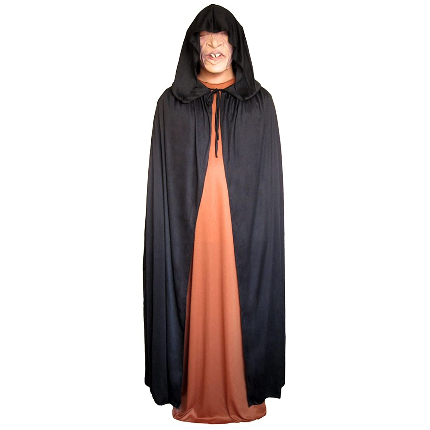 amazoncom 54 black cloak with large hood halloween costume cape stc11517 clothing - Halloween Costumes With A Cape