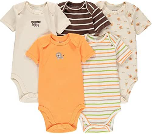 Wan-A-Beez 5 Pack Baby Girls' and Boys' Short Sleeve Bodysuits