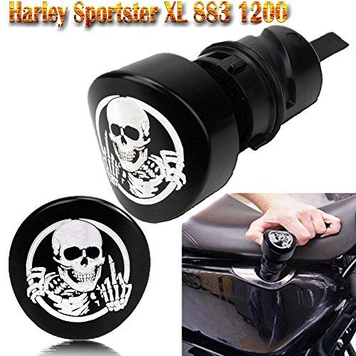 Sportster Oil Tank (Skull & Ghosts Oil Dipstick Filler Plug, Deep Cut Oil Plunger,Deep Cut Oil Tank Plug Black ( for 2004-2016 Harley Sportster XL 883 1200 48 72 ))