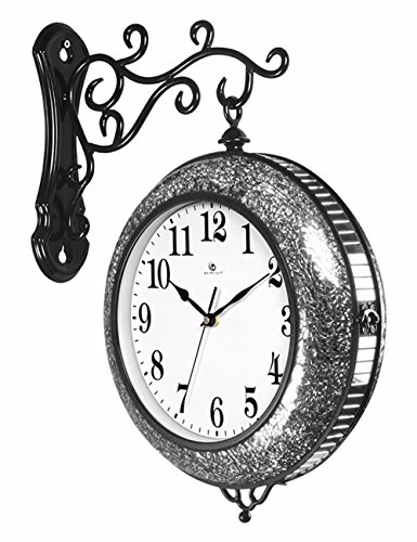 SUNQIAN-Fashion simple living room double hanging clocks, the trend of modern creative personality decorative wall clock Black Silver by SUNQIAN