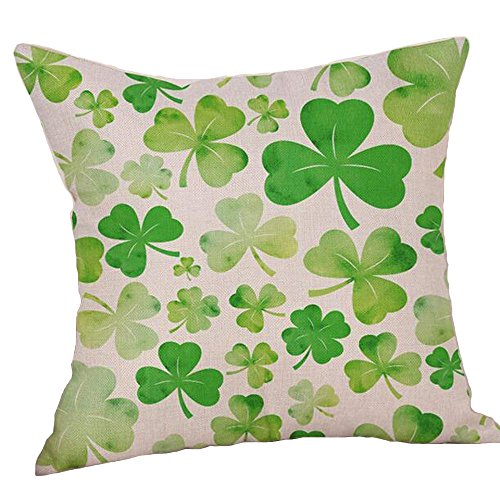 Home Furnishing Cushion Cover - Wonder4 Clovers Printed Throw Pillow Covers Green Clover Pattern Print Square Cotton Line Throw Pillow Cover Cushion Case Home Furnishing Vintage Sofa Modern Pillow Decoration Cushion Cover 18 x 18