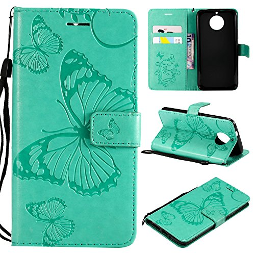 ARSUE Moto G5S Plus Case,Moto G5S Plus Wallet Case,Leather Folio Flip PU Phone Protective Case Cover with Card Holder and Kickstand for Motorola Moto G5S Plus [Not for G5 Plus],Butterfly Mint Green