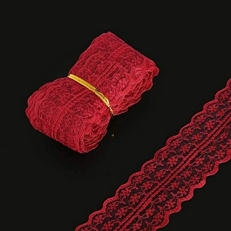 Color: Fuchsia Laliva High Quality 5 yards 19 Colors lace ribbon cord Width 45MM Embroidered Net Lace Trim Fabric thread for DIY Baby hair Sewing