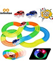 infinitoo Tracks Magique Circuit de Voiture Flexible Tracks Car | Une Piste de Course de 220 Pièces Modulable au Néon+2 Voitures Lumineuses+Accessoires | Cool Cadeau Enfants à Partir de 3 Ans …