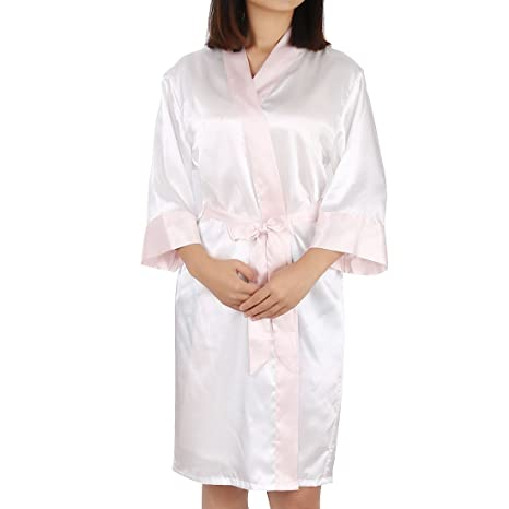 7293e0094 Image Unavailable. Image not available for. Color  uxcell Womens Kimono  Robe Silk Satin Bridal Lingerie ...
