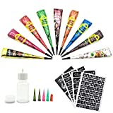 Best Henna Tattoo Kits - Temporary Tattoo Kit-9Color Temporary Tattoo Paste Cone Review