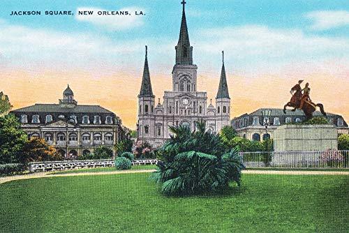 New Orleans, Louisiana - Jackson Square View (9x12 Art Print, Wall Decor Travel Poster) ()