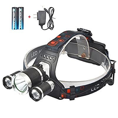 Smiling Shark 5000 Lumen Bright Headlamp Flashlight, 1 CREE T6 and 2 CREE Q5 LED Headlight Torch with Rechargeable Batteries and Charger for Outdoor Sport