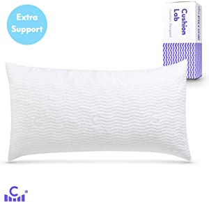 Cushion Lab Extra Support Adjustable Shredded Memory Foam Pillow for Back, Stomach, Side Sleeper - Sleep Comfort & Neck Support Bamboo Pillow, Oeko-Tex Hypoallergenic Cover, CertiPUR US, King Size
