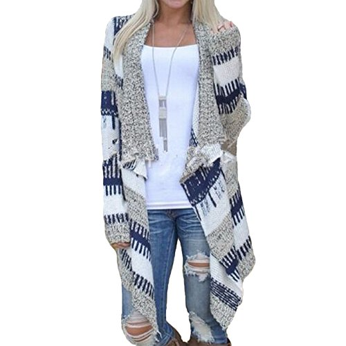 Daman Unregelmäßige Mode Kimono locker Bannfarbe Pullover Mit Langen Ärmeln Strickjacke Cardigan Outwear Mantel (XXL)
