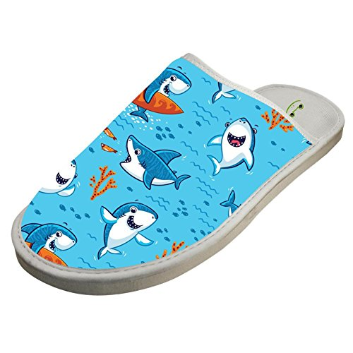Slippers with Funny Sharks Underwater World 3D Print Indoor Sandals Adults Shoes Flat Winter Sleeppers 9 B(M) US by JLL-HITOLY