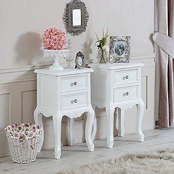 1b1e7bcf43 Melody Maison Pair of White Two Drawer Bedside Tables - Elise White Range