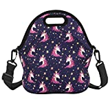 Unicorn Lunch Bag with Zipper Pocket and Adjustable Strap Waterproof Foldable Lunch Tote Bag Shoulder Bags Waterproof for Women Men Teens Teenage Girls, Purple