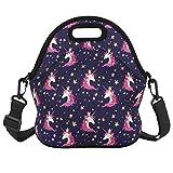 Unicorn Lunch Bag with Zipper Pocket and Adjustable Strap Waterproof Foldable Lunch Tote Bag Shoulder Bags Waterproof for Women Men Teens Teenage Girls, Purple