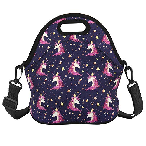 Unicorn Lunch Bag with Zipper Pocket and Adjustable Strap Waterproof Foldable Lunch Tote Bag Shoulder Bags Waterproof for Women Men Teens Teenage Girls, Purple (Shoulder Bags For Teenage Girls)
