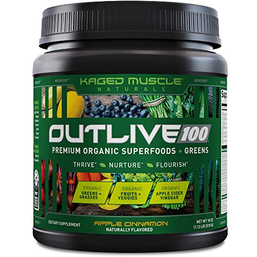 Kaged Muscle Outlive 100 Organic Superfoods and Greens Powder with Apple Cider Vinegar, Antioxidants, Adaptogen…